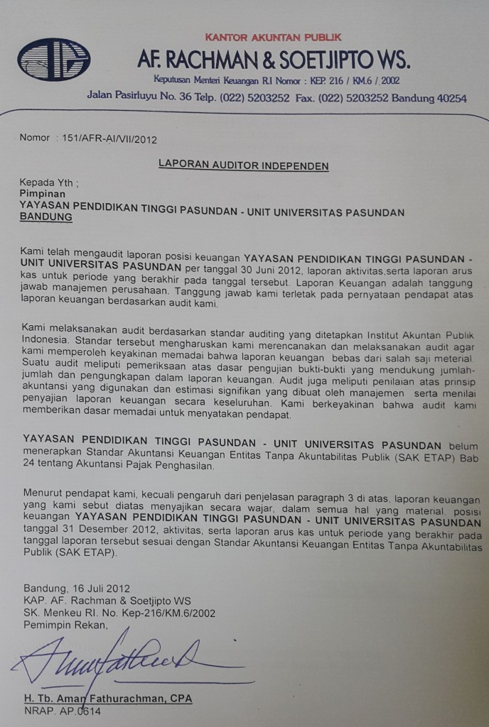 Laporan Auditor Independen 2012