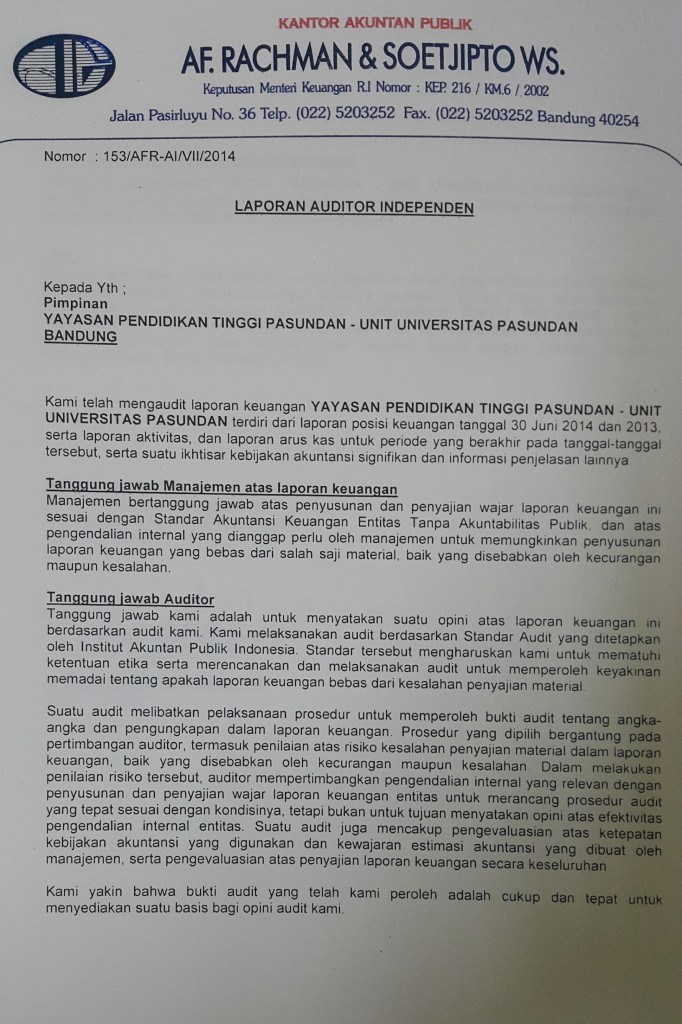 Laporan Auditor Independen 2014